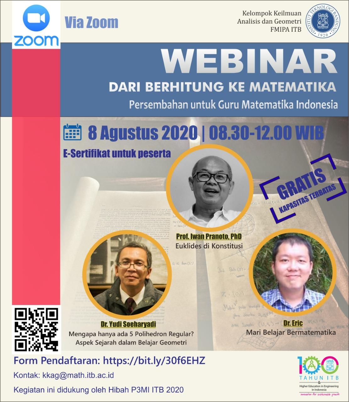 Webinar Dari Berhitung ke Matematika, Persembahan untuk Guru Matematika Indonesia