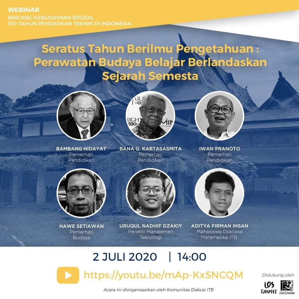 Webinar : Bincang Kebudayaan Spesial 100 Tahun Pendidikan Tinggi Teknik di Indonesia