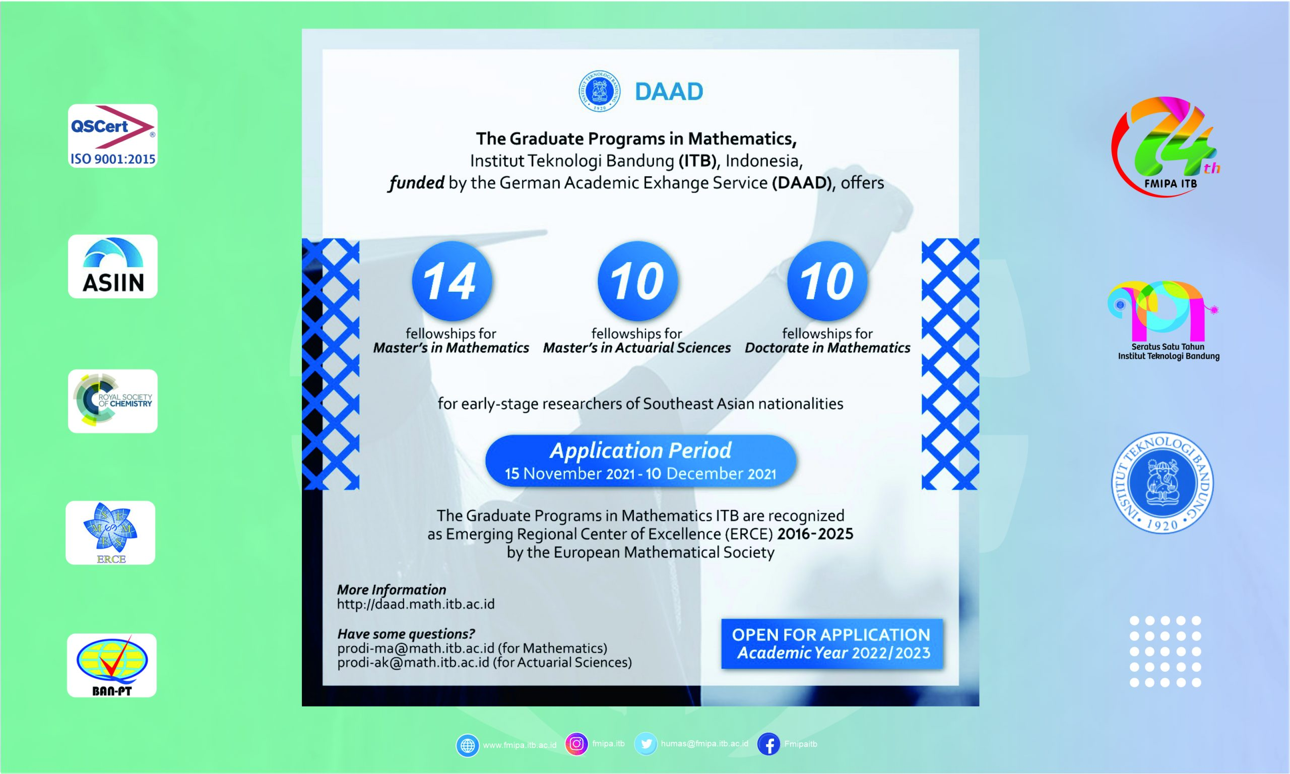 The Graduate Programs in Mathematics, Institut Teknologi Bandung (ITB), Indonesia, funded by the German Academic Exhange Service (DAAD)