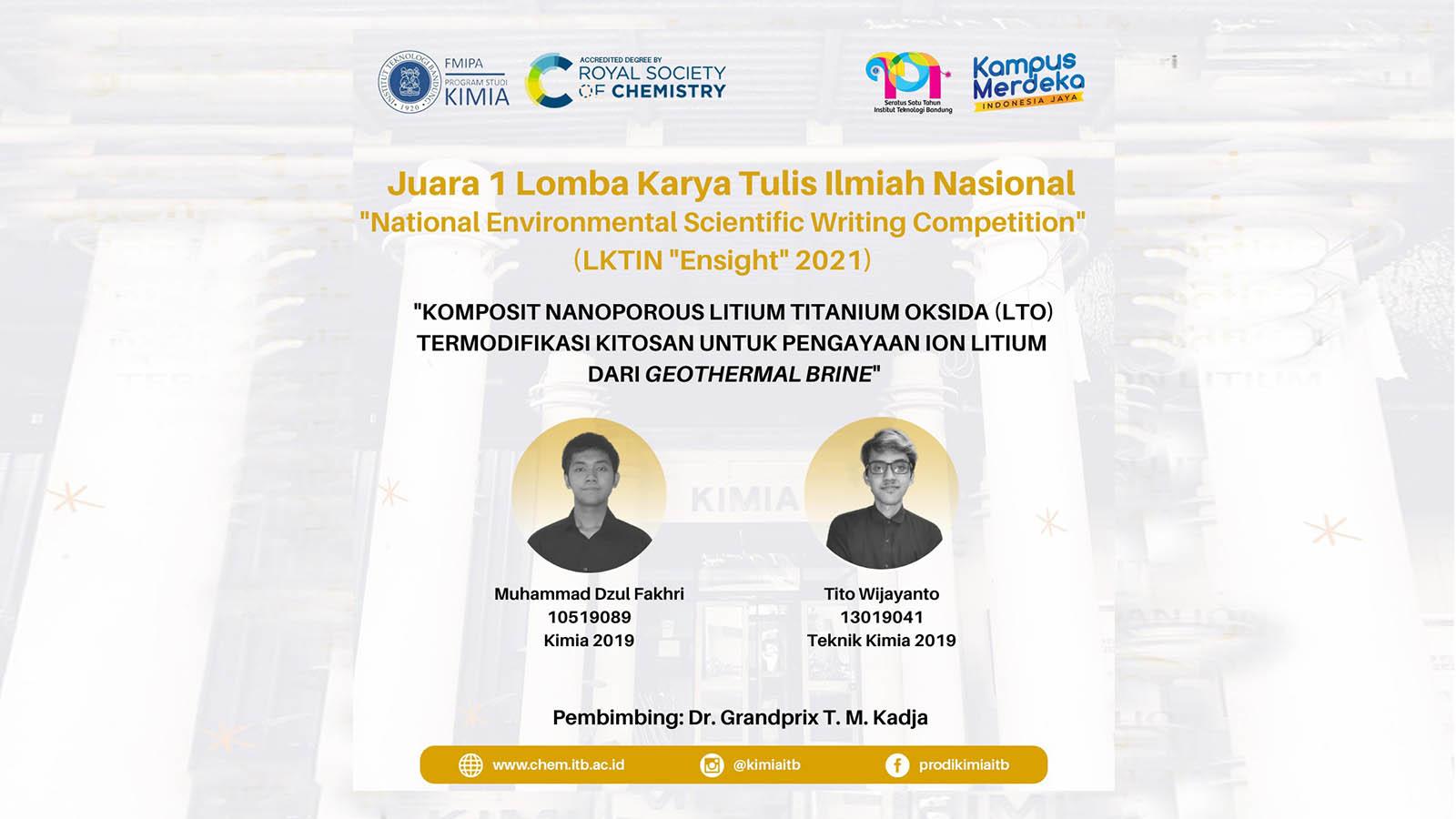 """Juara 1 Lomba karya Tulis Ilmiah Nasional """"National Environmental Scientific Writing Competition"""" (LKTIN """"Ensight"""" 2021)"""